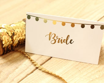 Personalised Festoon Lights Design Wedding Name Place Cards/Seating Cards/Tented Name Cards in Gold/Silver/Rose Gold/ Copper/ Colour Foils