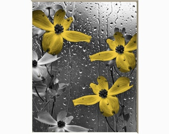Yellow Flowers Raindrops Bathroom Bedroom Wall Decor, Yellow Pictures, Yellow Gray Home Decor Matted Wall Art