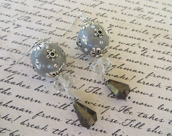 Ornate Dangling Beaded Earrings With Clear And Smoky Quartz Colored Crystal Earrings