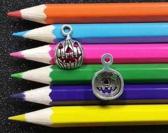 10 PCS - Pumpkin Jack O Lantern Halloween Silver Charm Pendant C0358