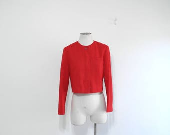 Vintage Pendleton Jacket, Red Jacket, Cropped, 1980s, Suit Jacket, Wool Jacket, Blazer, Work Clothes, Made in USA, Portland Oregon, Size 14