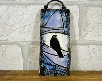 Small Blackbird Hanging Tile