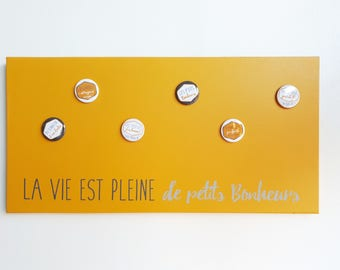 Magnetic memory 25 x 50 yellow mustard and grey - life is full of p' rewards