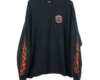 1990s Harley Davidson Motorcycle Vintage Black Flames Ventura California Longsleeve Tee T Shirt - XXL
