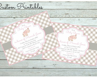 Printable Custom  Invitation, Baby Shower Invitation, Baby Elephant, Vintage, Baby Girl Shower Invitation