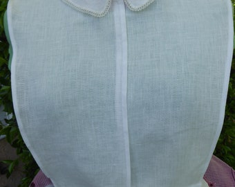 Handmade white linen chemisette, rounded collar with vintage lace trim
