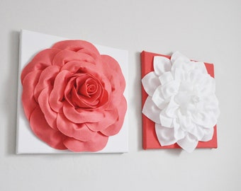 """Girls Room Wall Decor - Coral and White Flowers on Coral Pink and White Hangings 12 x 12"""" Canvas Set Flower Wall Art- Coral Nursery Decor-"""