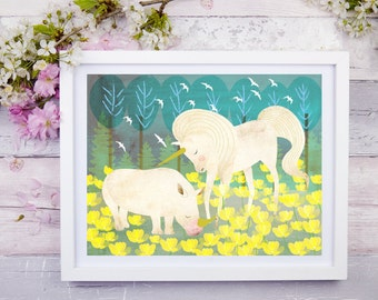 Unifriends, Nursery Animal Wall Art, Kids Room, Unicorn, Rhinoceros, Magical Animals, Print