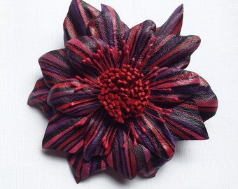 Leather Flower Brooch, Red flower brooch, hair pin, Red flower corsage, wedding corsage, eco jewellery, (1)