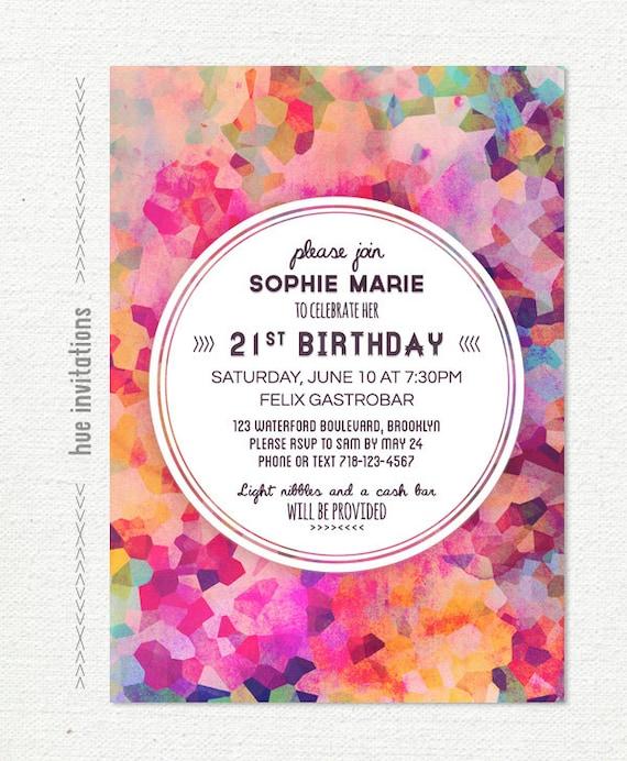 21st birthday invitation geometric watercolor pink artsy stopboris Images