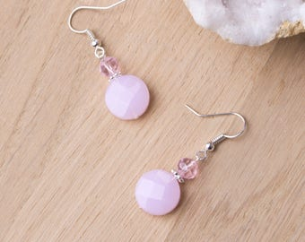 Pink Round Earrings - Pastel pink bead dangle earrings | Pretty faceted drop earrings | Opaque Baby pink jewelry | Elegant Pink accessories