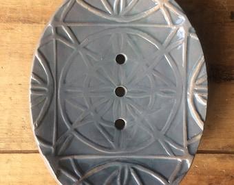 Gray Ceramic Soap Dish with Feet