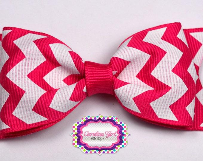 "Shocking Pink Chevron Tuxedo Bow ~ 3.5"" Hairbow ~ Small Hair Bow ~ Girls Barrette ~ Toddler Bow ~ Baby Hair Bow ~ Hair Clip ~ Girls Hair Bow"