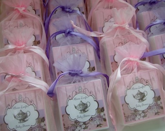 Tea Party Favors, Bridal Shower Favors, Baby Shower Favors, Shabby Chic Favors, Country Wedding Favors, Soap Shower Favors, set of 10, Pink
