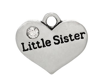"""1 or 2 or 4 pcs. Antique Silver """"Little Sister"""" charm with rhinestone - 17mm X 14 mm"""