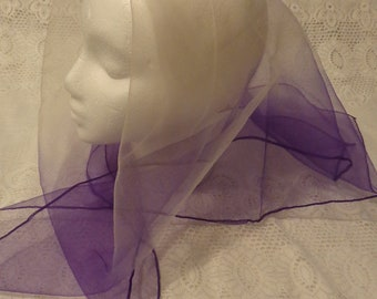 Vintage Purple & White Chiffon Scarf