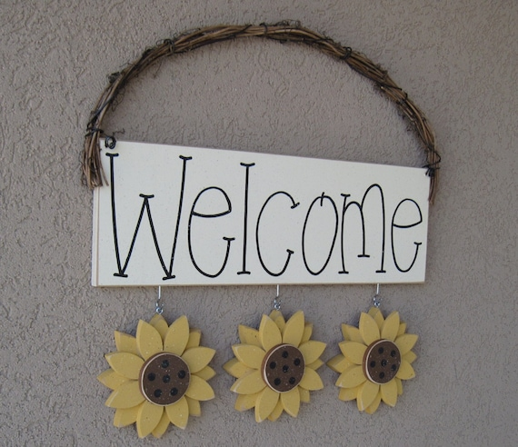 WELCOME SIGN SUNFLOWERS For Wall And Home Decor