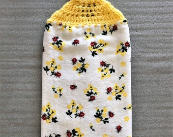 LADY BUGS Extra Thick CROCHET Towel, double layer towel, hanging towel, dish towel, lady bug lover gift, #lady bug, yellow, kitchen decor