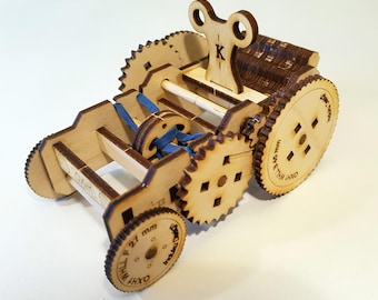 Wooden Wind-Up Car Kit - Moving Mechanical Model - Free Global Shipping