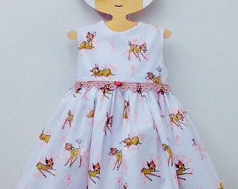 Beautiful Bambi girls handmade tea dress in white cream flower lace 18-24 months