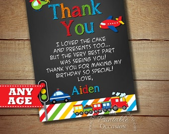 Transportation Thank You Card, Transportation Birthday, Cars Trucks Planes Thank You Card, Transportation Party, Chalkboard Thank You Card