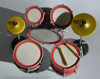 1 set 3D DRUM KIT Instrument acoustic cake decorating kit cymbal music wedding topper decoration wedding anniversary birthday engagement