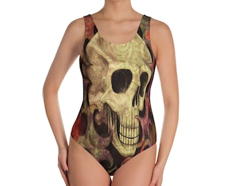 Gothic Skull Swimsuit, One Piece Bathing Suit