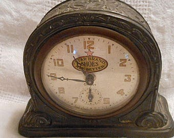 1910 STAR BRAND Shoes Shelf CLOCK by Gilbert Co Winsted Conn, Heavy Cast Metal Decorative Body, Alarm Wind Up Gilt Numbers Works Fine Keeper