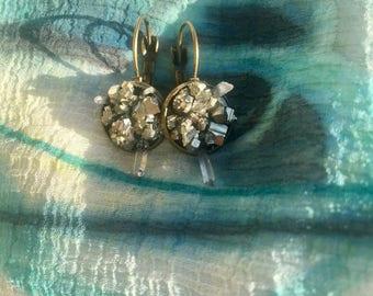 Raw crystal earrings, Raw pyrite earrings, Pyrite earrings, Raw gem earrings, Crystal quartz earrings, Raw stones earrings, Present for her