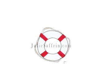 Life buoy Ring Hand-drawn and Watercolored Blank Greeting Card