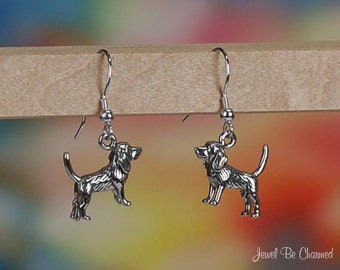 Hound Foxhound or Beagle Earrings Sterling Silver 3D Dog Solid .925