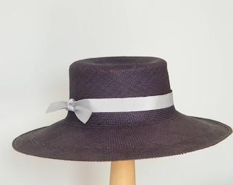 navy straw hat/ genuine Panama hat/ navy summer hat/ long brim straw hat for women/ navy sun hat/ sun protection hat/ elegant sun hat UK