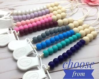 Beaded Pacifier Clip | Soother Clip | Baby Shower Gift | Pacifier Holder | Binky Clip | Baby Dummy Clip | Girl Pacifier Clip | Boy Paci Clip