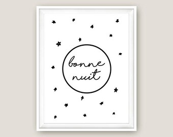 Bonne Nuit – Goodnight / French Quote Nursery Print