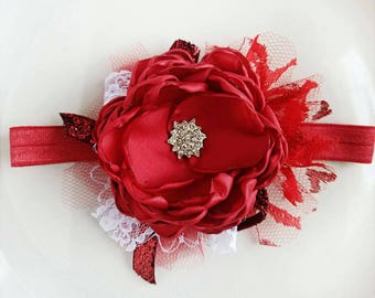 Rubies and Lace Holiday Headband