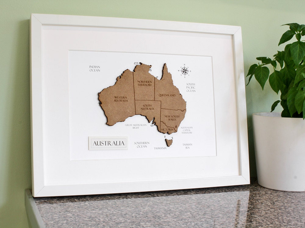 Custom map of australia australia map laser cut map description customisable laser cut map of australia gumiabroncs Gallery