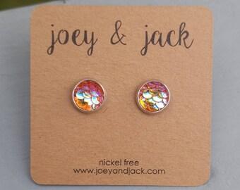 Little orange/pink mermaid scale stud earrings! Stainless steel, nickel free! Handmade! 8mm round