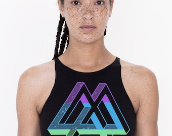 Women's IMPOSSIBLE DREAMS Spandex Mini Crop Top Sacred Geometry Triangle Woodcut Stars
