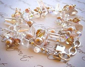 Rock Crystal Gemstone Bracelet Crystals Fresh Water Pearls Sterling Silver On Sale
