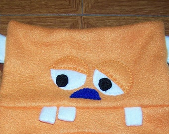 Monster Hat Orange Monster Fleece Hat with Two Horns and Two Eyes Toddler Kids Child Teen Adult with Matching Mittens