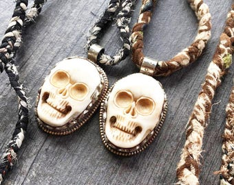 Skull pendant, skull necklace, carved bone skull pendant, carved  bone necklace, bone necklace