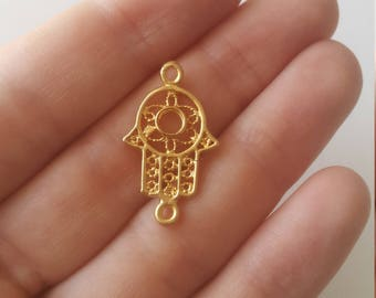 5 gold plated filigree hand of hamsa charms, connectors