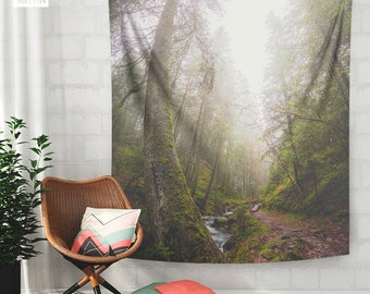 Mighty Forest Tapestry, Forest Wall Tapestry, Nature Wall Hanging, Forests Wall Art, Wanderlust Tapestry, Photo, Boho Wall Decor, Wall Art