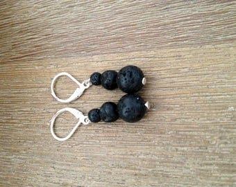 Earrings - Trio of beads of lava rock Reunion