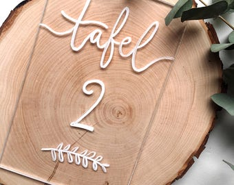 Clear Perspex table number