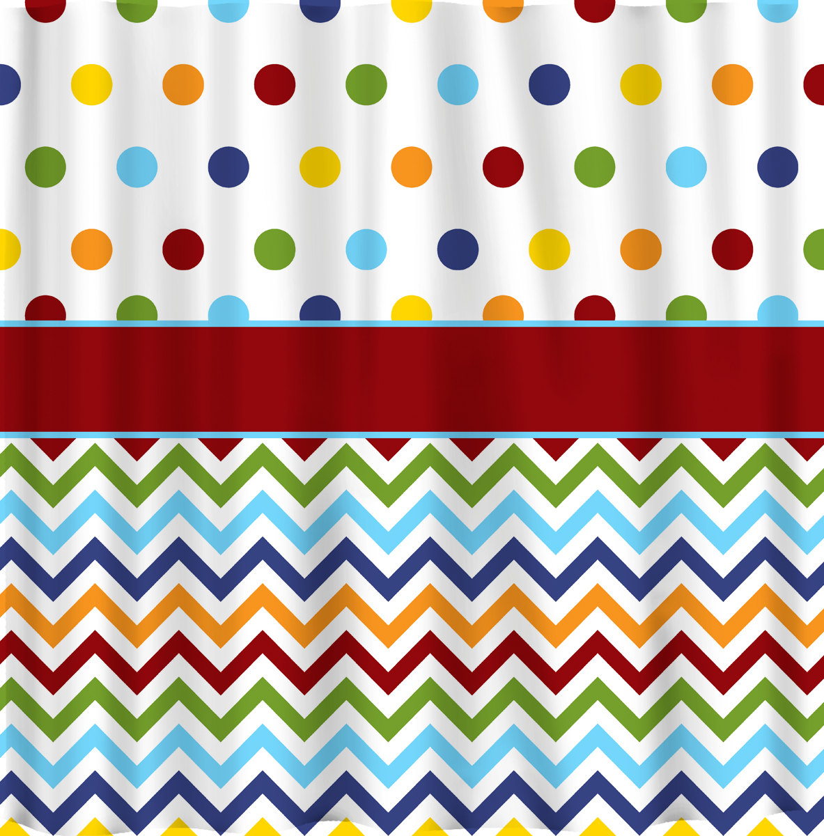 Shower Curtain Rainbow Bright Dots and Chevron Or Any