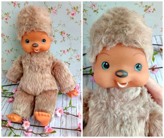 GDR Rare vintage monchhichi. East Germany, thumb Sucking, highly Collectible Value & Hard to Find, Late 70's. Kawaii retro stuffed toy.