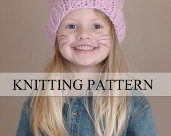 Cat Hat KNITTING PATTERN, Cat Beanie Knit Pattern, Cat Ears Knitting Pattern, Kitty Cat Hat Knit Pattern (Toddler, Child, Teen/Adult Sizes)