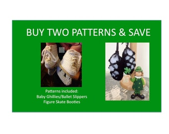 2 Instant Downloads - Buy Baby Ghillies - Figure Skates - PDF Crochet Patterns and Save