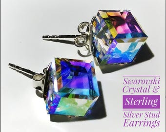 Swarovski Crystal Cube & Sterling Silver Crystal AB Stud Earrings